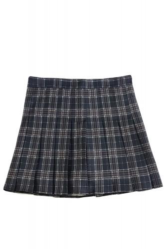 Tartan Pleated Skirt DARK BLUE