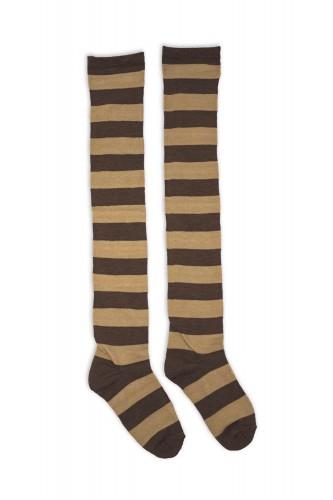 Striped Long Socks - Cinnamon